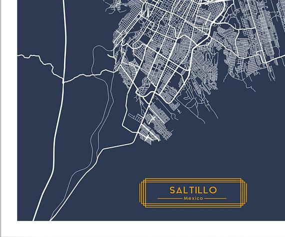 Saltillo Mexico Canvas Large Art City Map Saltillo Mexico Art Print