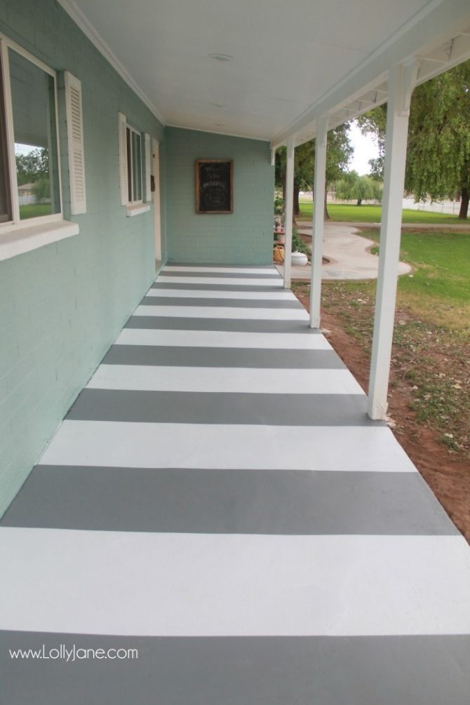 Painted Striped Concrete Flooring Painted Patio Painting