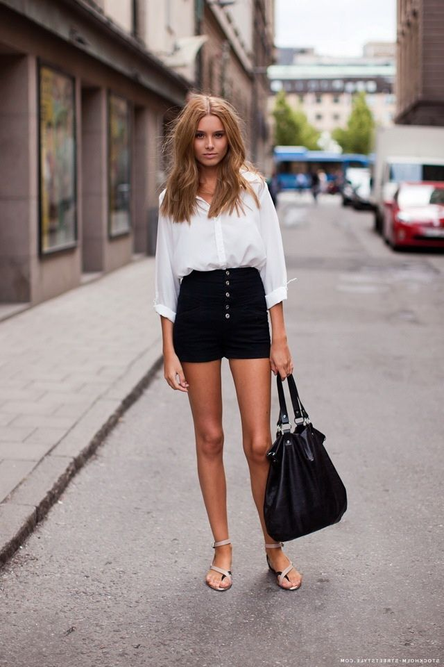 Feminine Ways to Wear Button-Down Shirts. High Waist ShortButton Down Shirts White ...