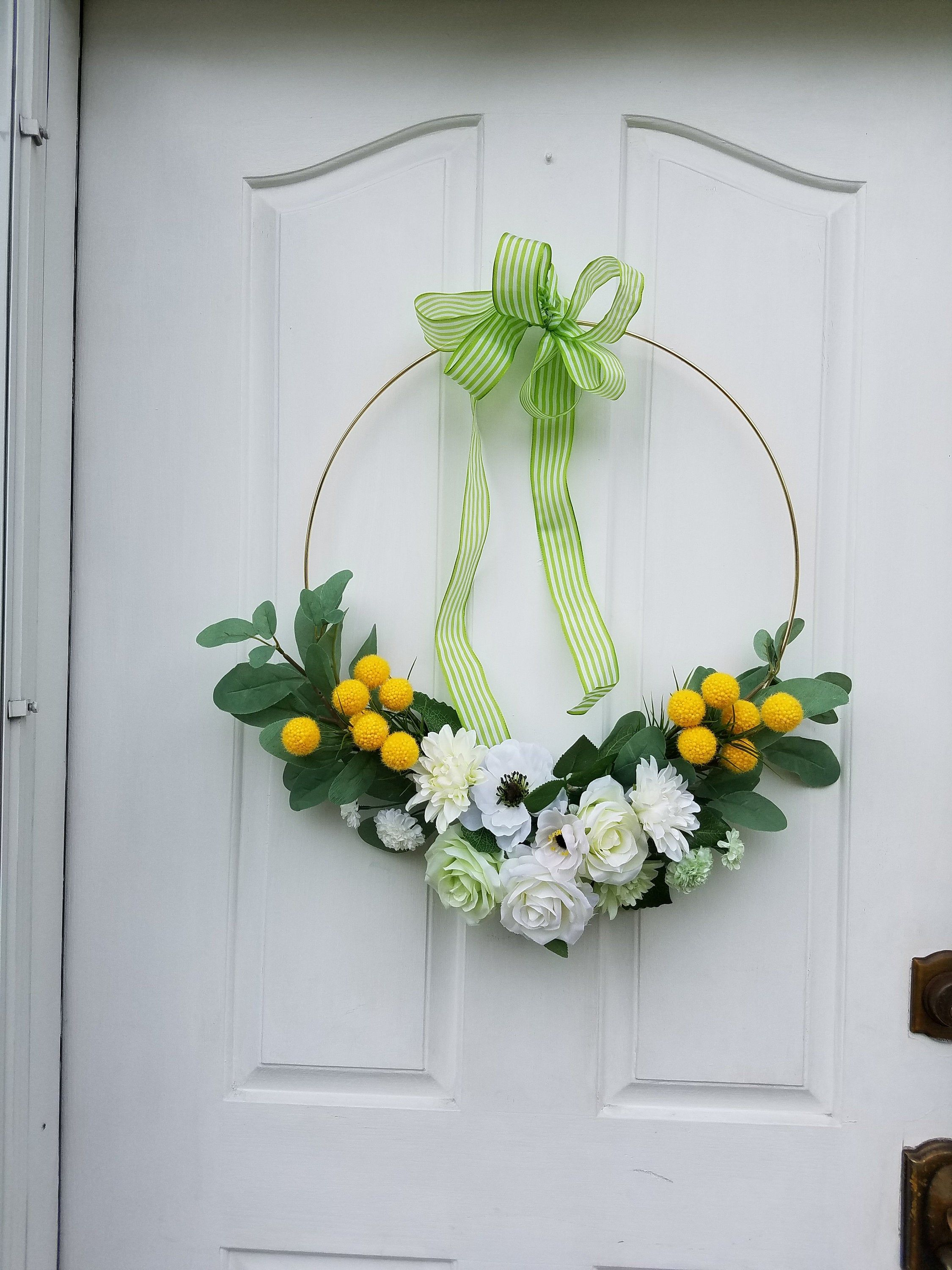 Modern Hoop Wreath Floral Wreath For Front Door 22 Inch Hoop Etsy In 2020 Winter Door Decorations Summer Door Wreaths Wreaths For Front Door