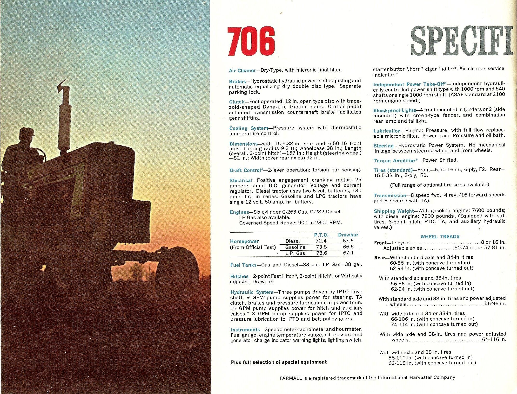 Farmall 706 Specs | International Harvester Advertising
