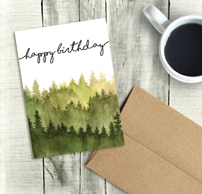 Printable Birthday Card For Him Happy Birthday Watercolor Forest