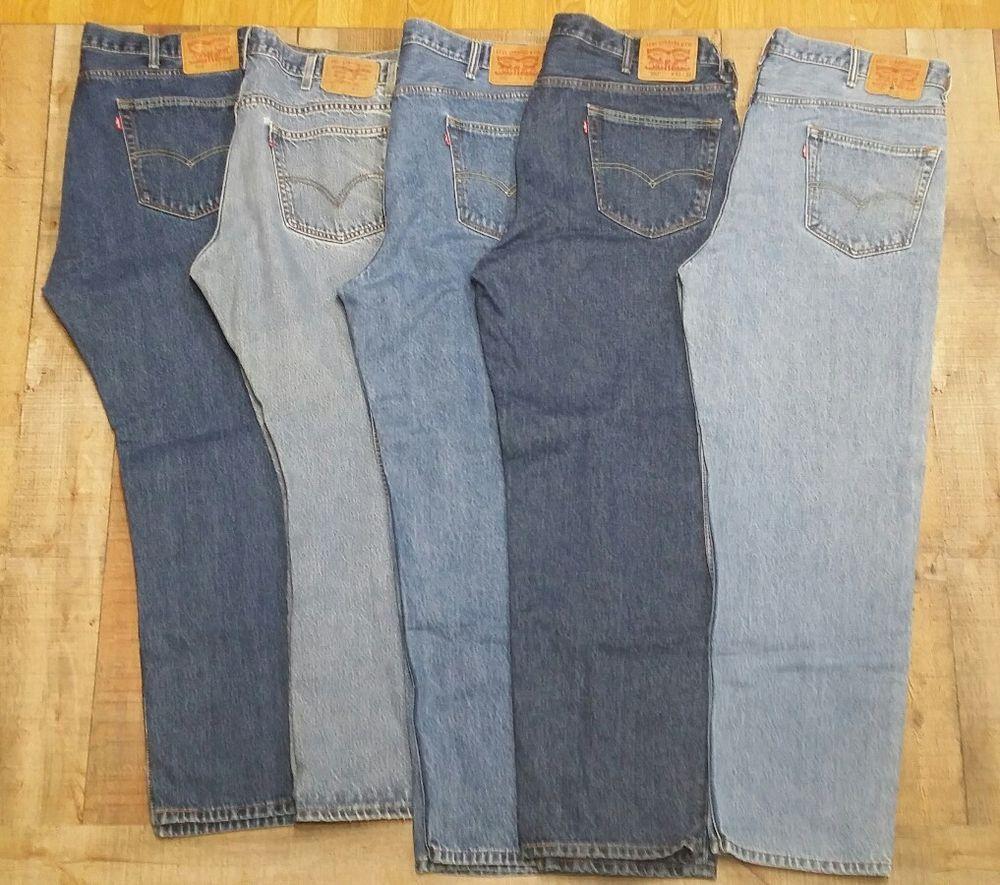 e8a1c1c27f7 Mens Levis jeans lot 42x32 5 pair 550 - 505- 517 Straight leg light   Dark   Levis  ClassicStraightLeg
