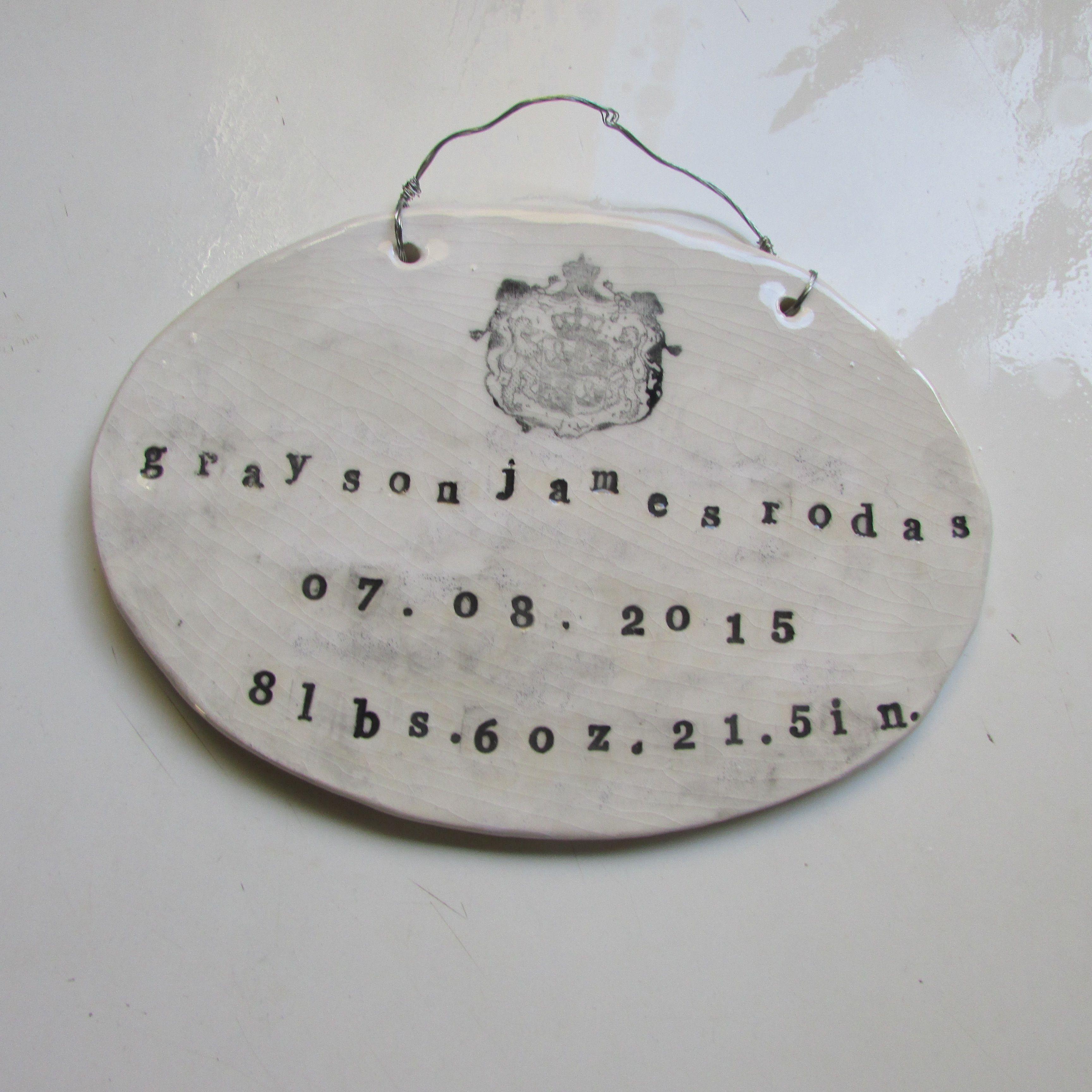Birth certificate wall plaque for grayson james rodas