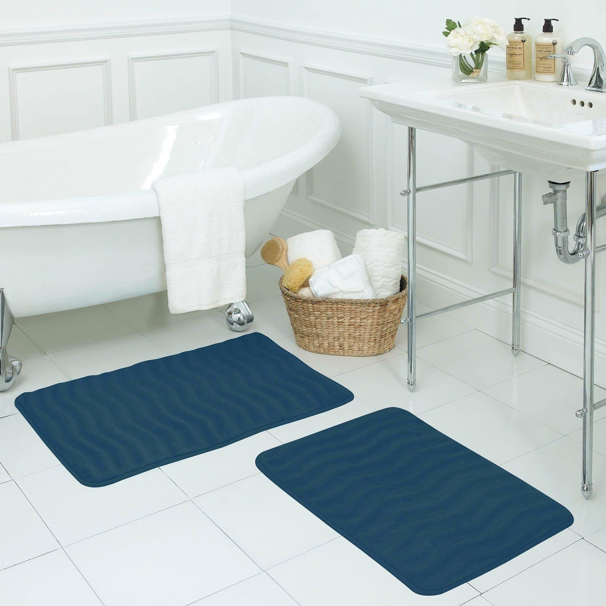 Waves Memory Foam 17 X 24 Inch 2 Piece Bath Mat Set With