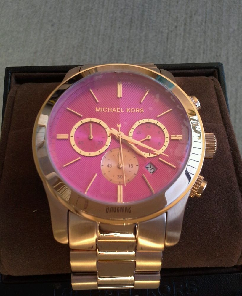 3b9607fcc17d Michael Kors Rose Gold New Stainless Luxury Chronograph Pink Dial Watch  MK5931  MichaelKors  Fashion
