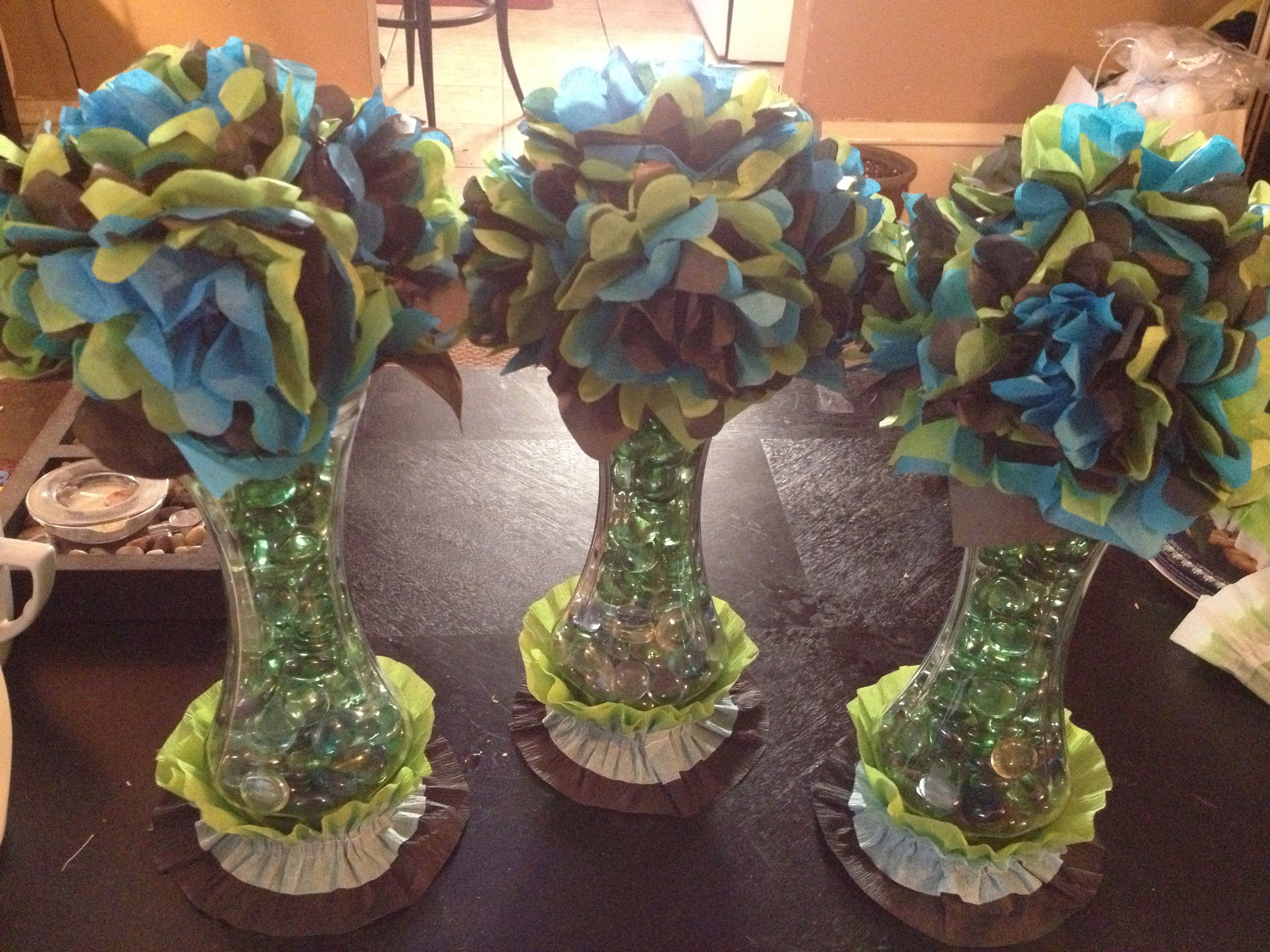 Diy Little Man Baby Shower Table Centerpieces Bought Vases And
