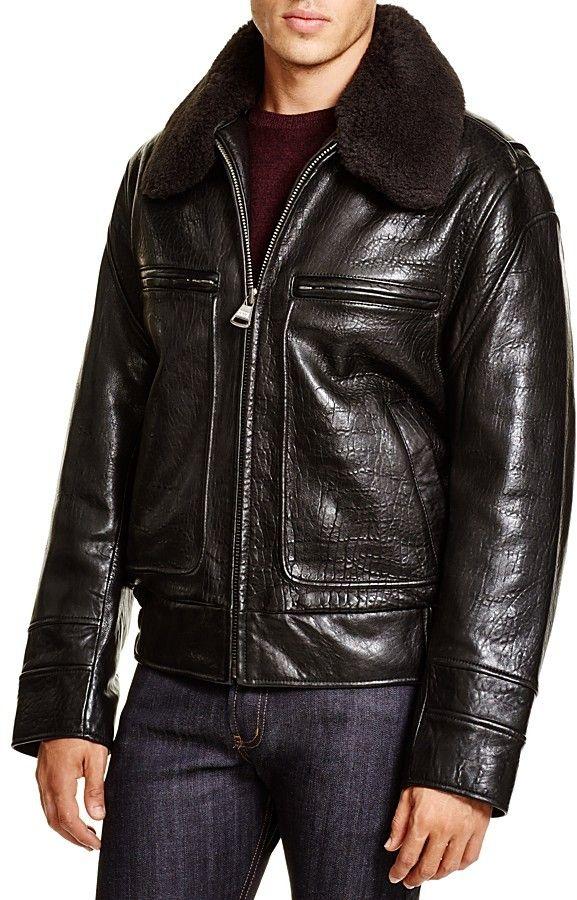 Marc New York Carmine Aviator Leather Bomber Jacket