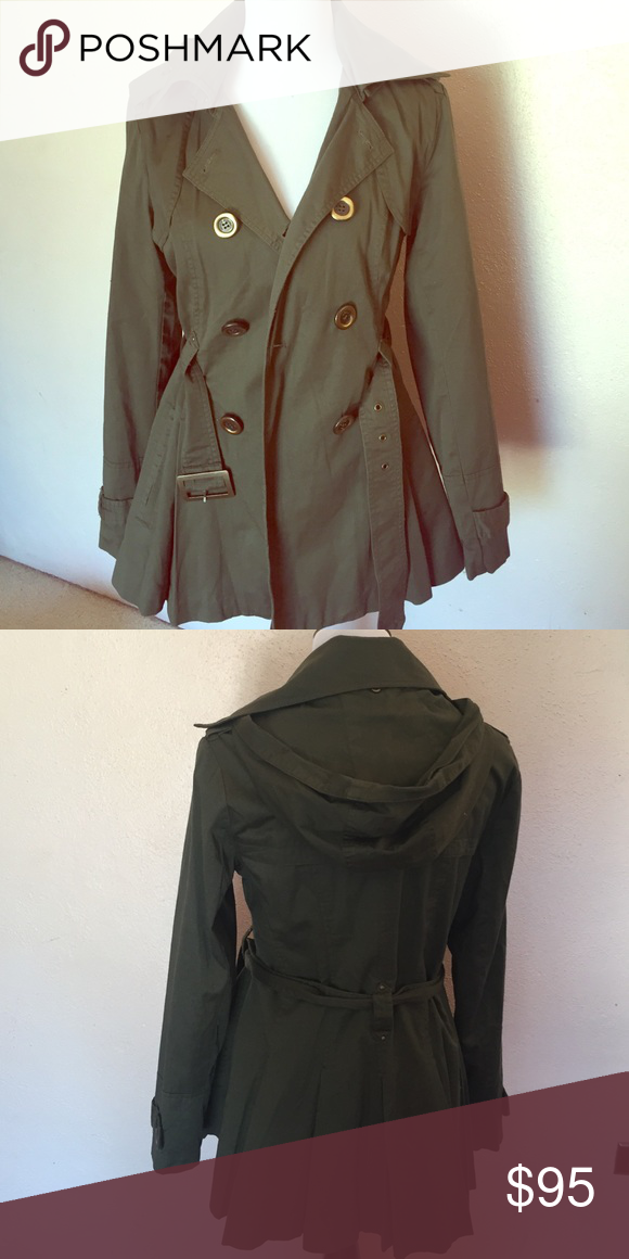 Miss 60 hooded trench Olive all cotton hooded trench coat Miss Sixty Jackets & Coats Trench Coats
