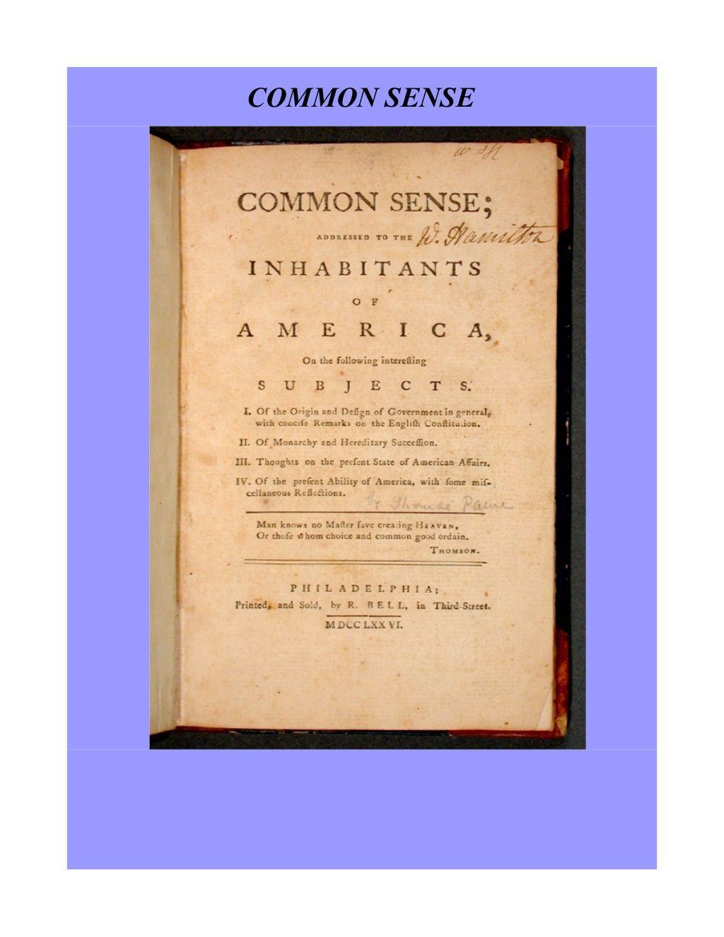 Common Sense Thomas Paine By Chuck Thompson Via Slideshare