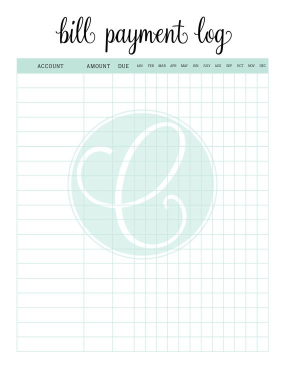 Printable Bill Payment Log Financial by CitrusPaperCo on Etsy Pig - Financial Spreadsheet For Small Business
