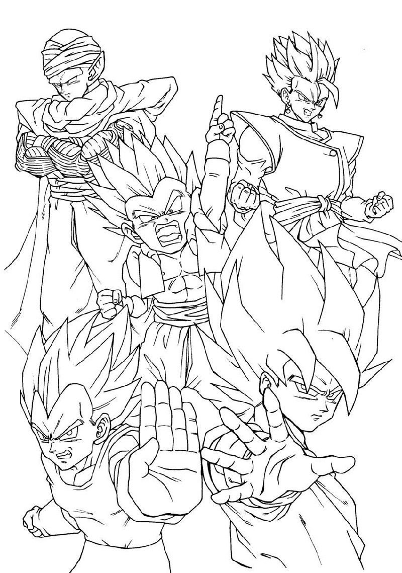 Dragon Ball Super Coloring Pages Full Team Educative Printable Super Coloring Pages Dragon Ball Art Dragon Coloring Page