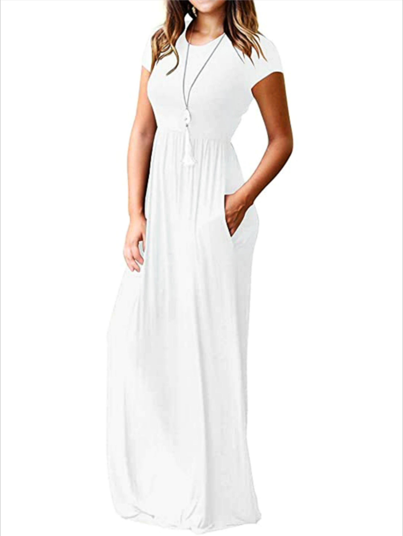 Women S Short Sleeve Loose Plain Maxi Dress Long Dress Casual Casual Dresses Uk White Dress Long Casual [ 2896 x 2172 Pixel ]