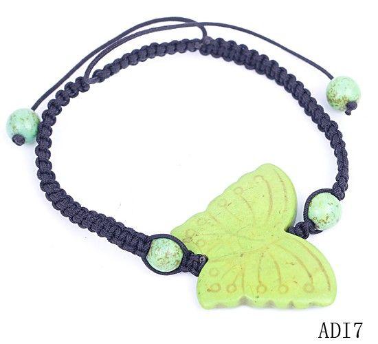 Green Butterfly Stone Round Ball Beads Charm Bracelet Bangle Nylon Cords