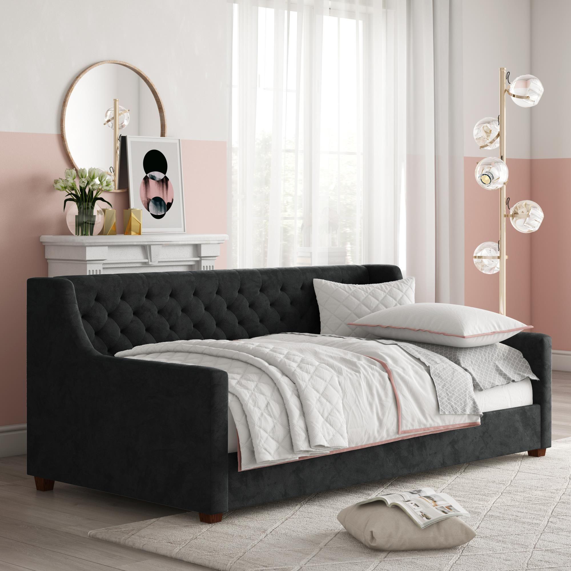 Dhp Jordyn Twin Size Upholstered Daybed Gray Velvet Walmart Com In 2020 Upholstered Daybed Sofa Bed Design Sofa Bed Frame