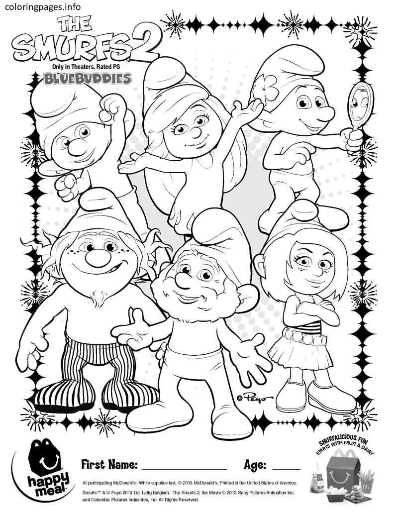 Smurfs 2 Coloring Pages Coloring Pages Rose Pinterest