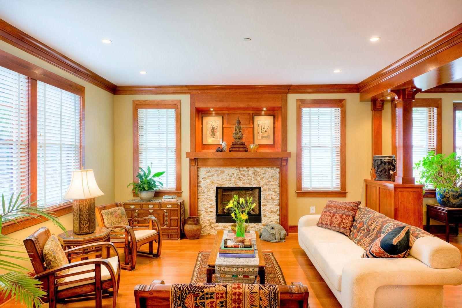Living Room with Light Oak Trim, Flooring Including ...