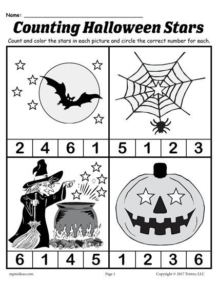 Printable Preschool Halloween Counting Worksheet Halloween Preschool Halloween Worksheets Halloween Kindergarten