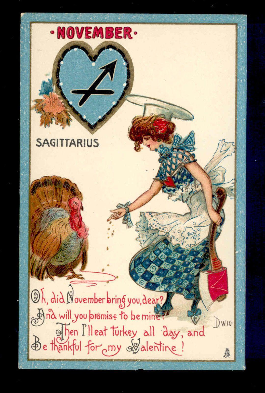 "Mint Dwig ""November"" Zodiac Girl ""Sagittarius"" Thanksgiving Turkey Postcard | eBay"