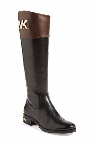 8a66d5aa1431 Women s Michael Kors Hayley Leather Two Tone Brown Black Riding Boots 9 M