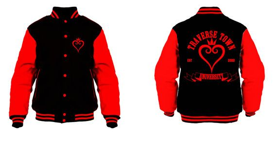 Hey, I found this really awesome Etsy listing at https://www.etsy.com/listing/238994973/traverse-town-black-red-varsity-jacket