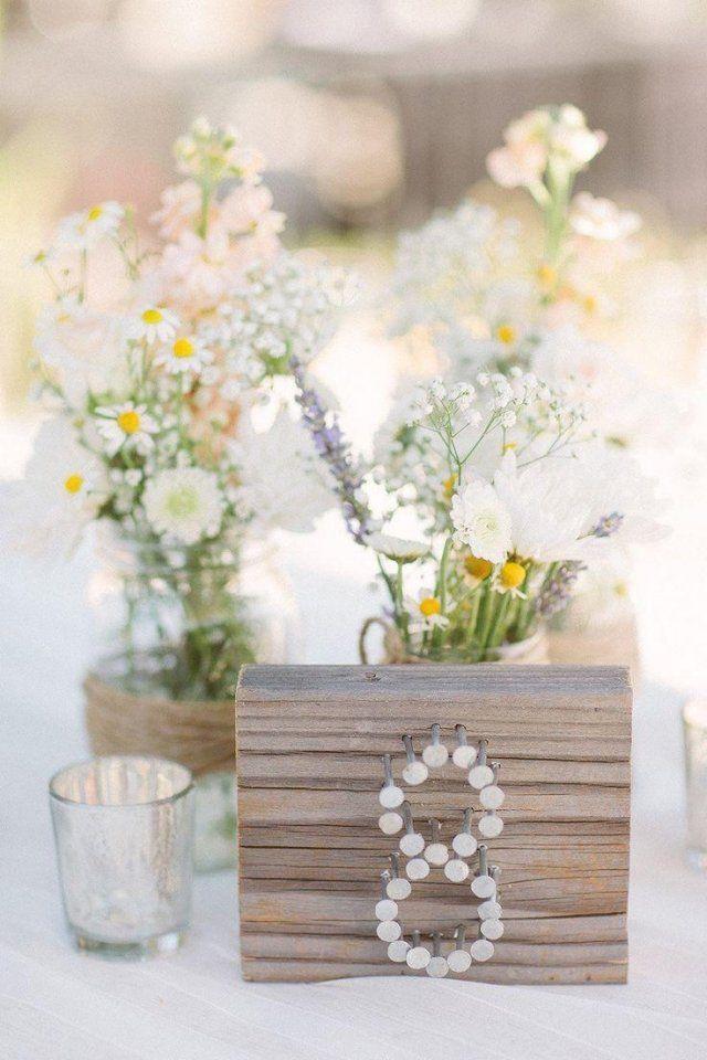 Garten hochzeit fr hling tischdeko tischnummer idee nagel for Pinterest tischdeko