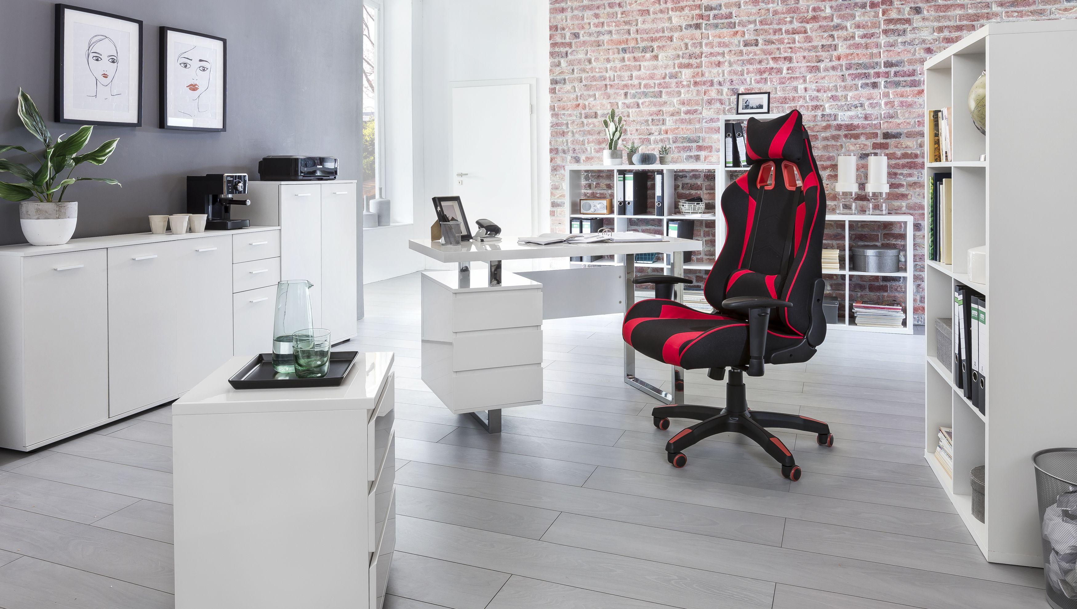 Ein Arbeitszimmer Im Weissen Design Wohnen Buroeinrichtungen Weisse Mobel