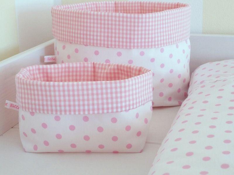 utensilo stoffkorb punkte vichy karo rosa von le petit villa auf beb. Black Bedroom Furniture Sets. Home Design Ideas