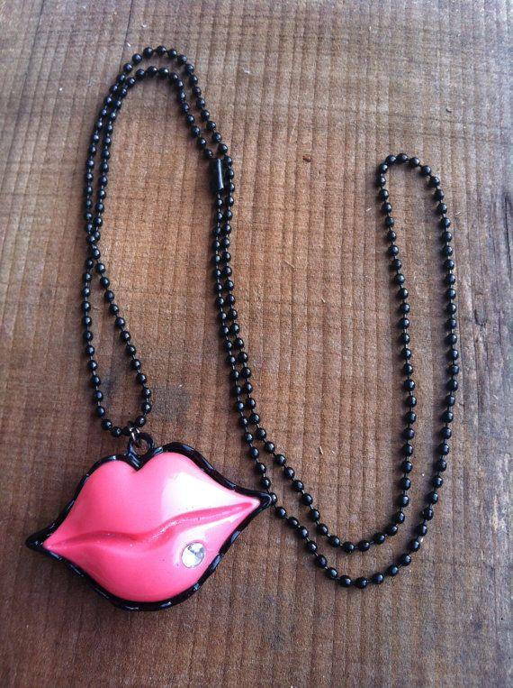 BIG SALE!! GET 50% OFF THIS WEEK JUST ENTER 50OFF IN THE COUPON CODE AT CHECKOUTSexy Pink Lip Necklace by Krazy4Kamo on Etsy, $3.00