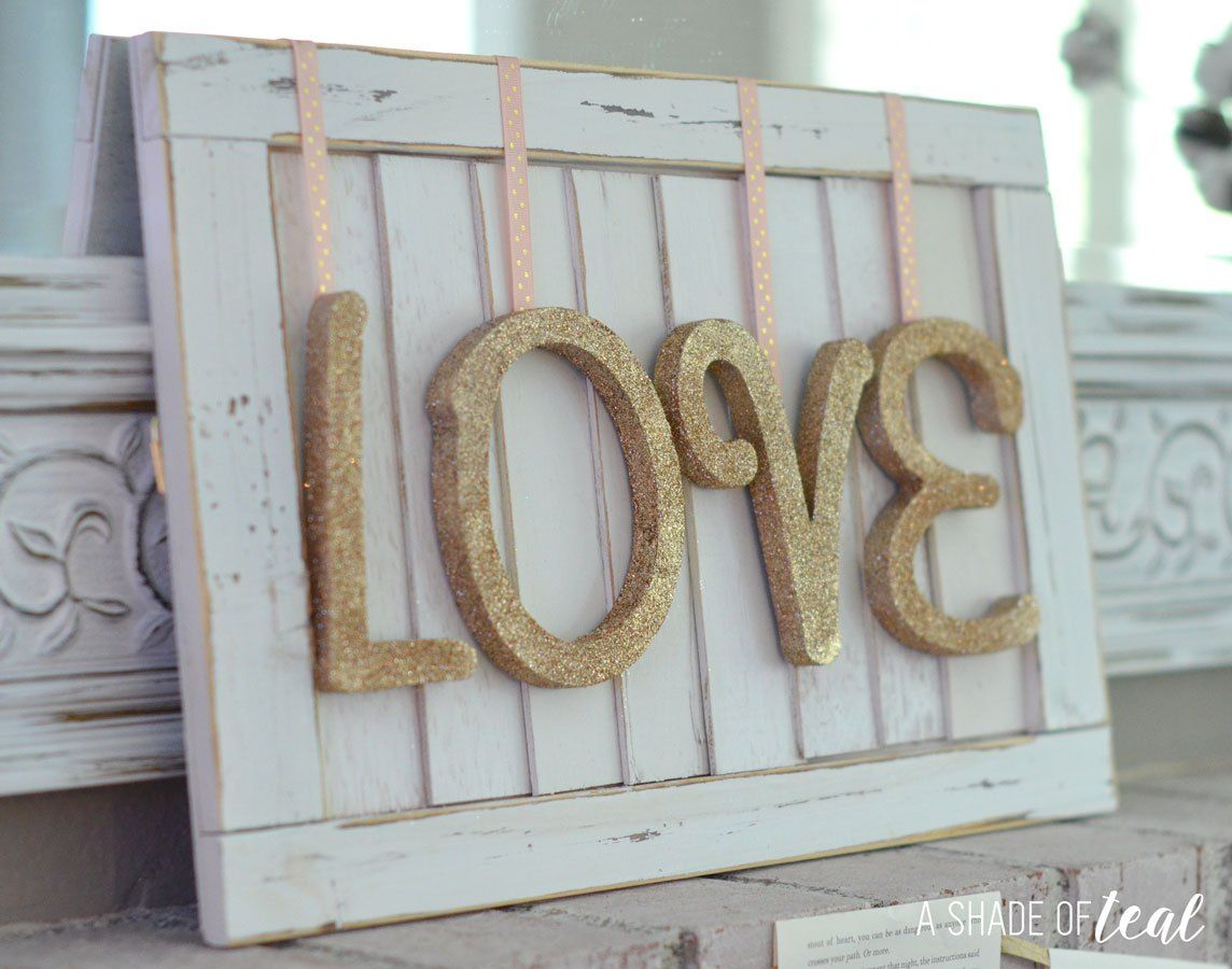 Window frame decor with wreath  diy  valentines day love sign  diy valentine mantle and window