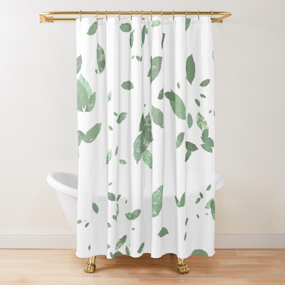 Green Fresh Leaves Pattern Shower Curtain By Mariamarinova In 2020 Home Decor Pattern Curtains