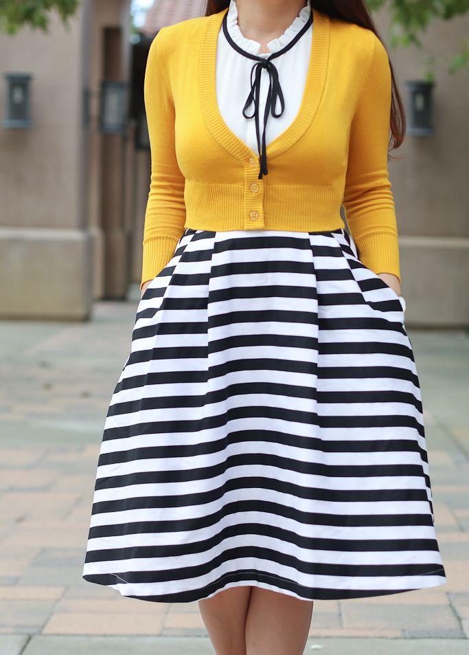 Striped Midi Skirt and Mustard Crop Cardigan (Stylish Petite ...