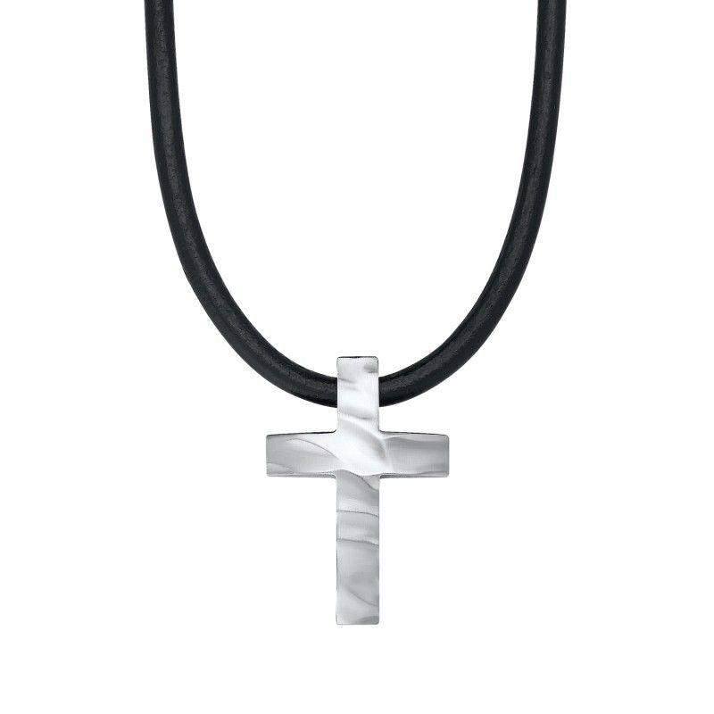 s.Oliver Jewel Herren Halskette Kette Leder Edelstahl Kreuz SO1105/1 - 484435