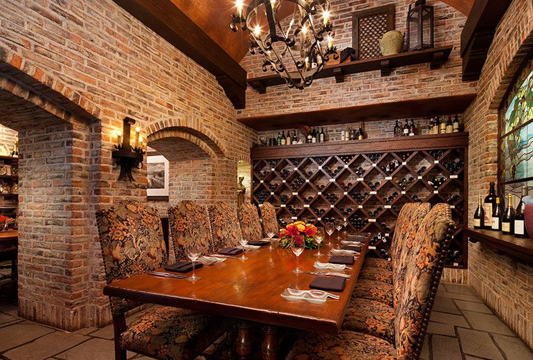Brick Wall S In Wine Room With Wine Rack On Back Wall Large Dining Table Private Dining Scottsdale Restaurants