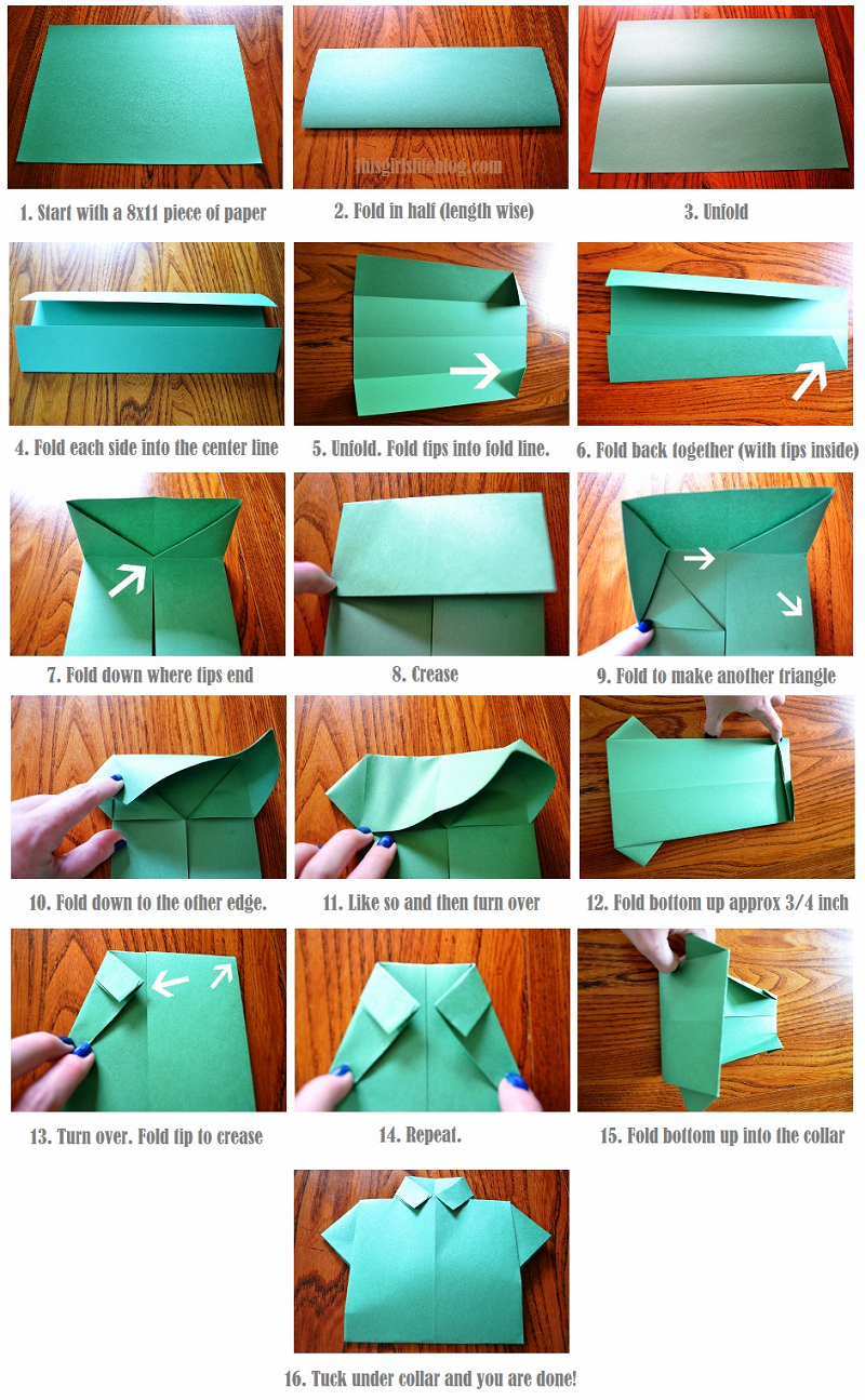 Missionary bulletin board: origami shirt and tie. Picture tutorial ...   1295x800