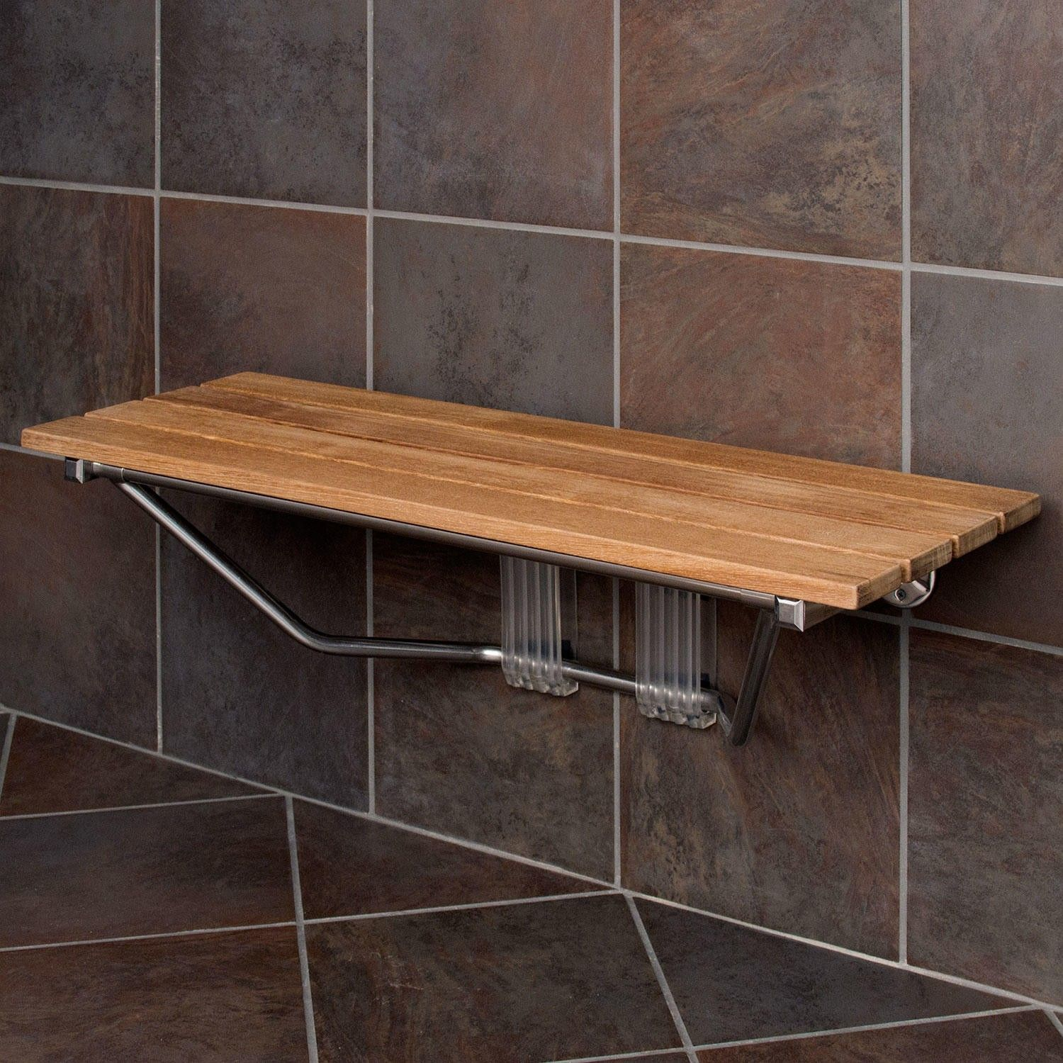 36 In Teak Wall Mount Slatted Folding Shower Seat With Stainless