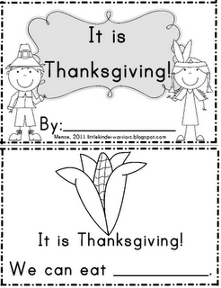 Thanksgiving booklet for emergent readers and early