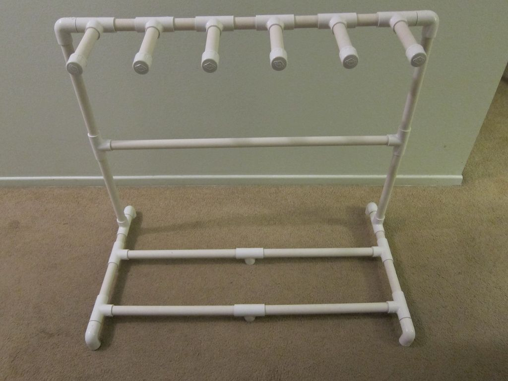 how to make a pvc guitar rack stand build that guitar rack diy guitar stand guitar stand. Black Bedroom Furniture Sets. Home Design Ideas