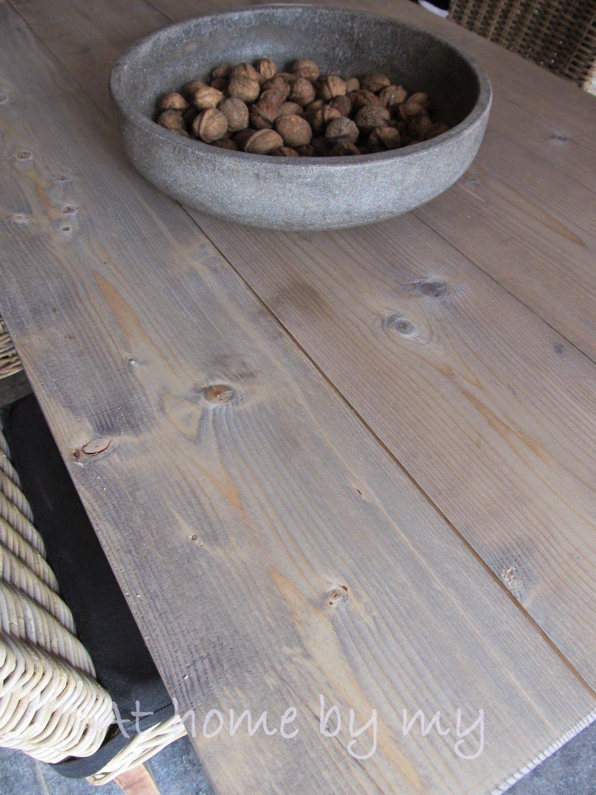 Eiken Keuken Whitewashen : Vurentafel behandeld met loogbeits van Esatto oude eik