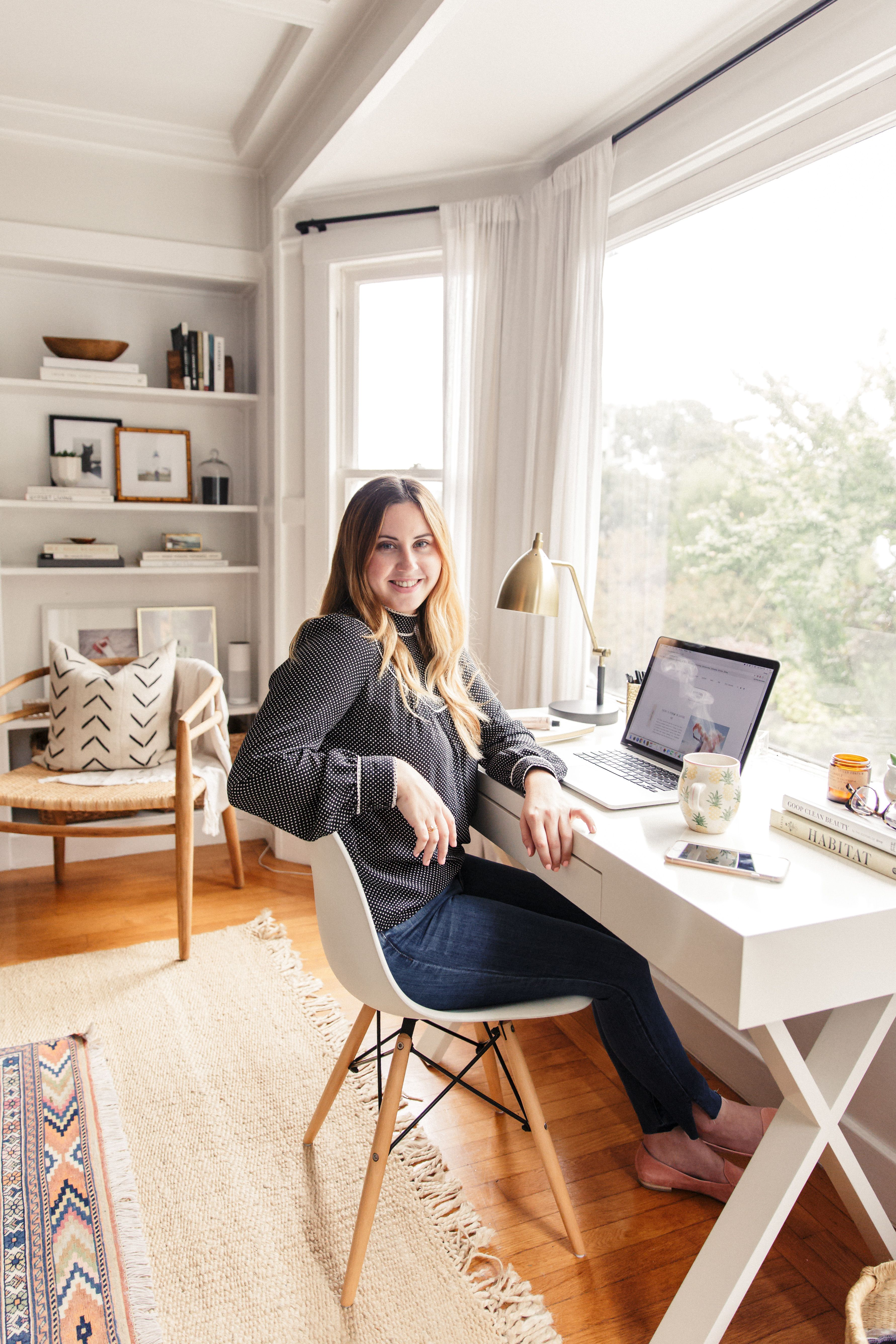 How To Make A Small Office Work Harlowe James Desk In Living Room Small Space Office Living Room Office