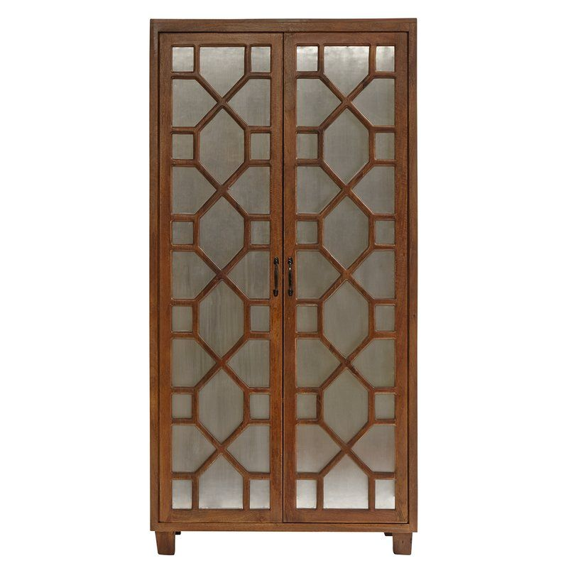 The Orma Armoire Is Transitionally Styled And Features 2 Doors, 2 Fixed  Shelves, Removable Hanging Rod, Metal Zinc Finish Covered Door Panels, Natural  Wood ...