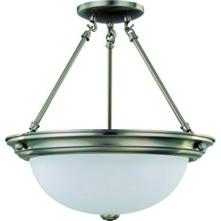 Nuvo Lighting 63246 - 3 Light (Medium Screw Base) 15.25 inch Semi Flush Brushed Nickel Finish with Frosted White Glass Ceiling Light Fixture (60-3246), Silver