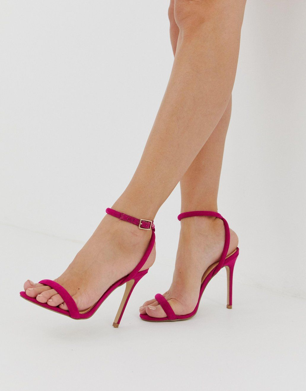 178b1e561b1 Lipsy barely there heeled sandal with cross back in fuschia in 2019 ...