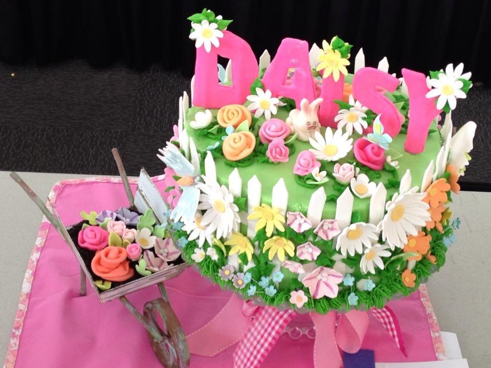 Flower Garden White Fence Farm Birthday Cake For A Little Girl