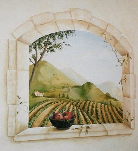 (we did something like this at our restaurants with wood framed, so pretty)Trompe L'oeil mural by Kristin Plansky