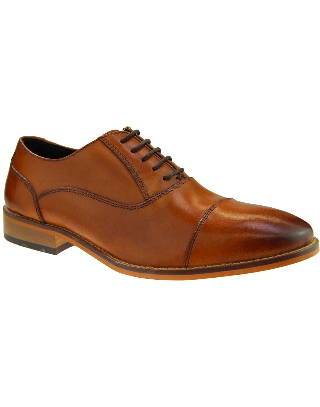 Ikon TOBY Mens Smart Formal Evening Smooth Leather Toe Cap Oxford Shoes Tan
