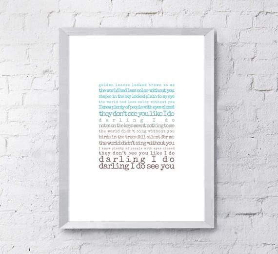 Darling Print, Song Lyric Wall Art, Digital Download, Paper Anniversary, Music Poster, Lyrics Wall A #excelwordaccessetc