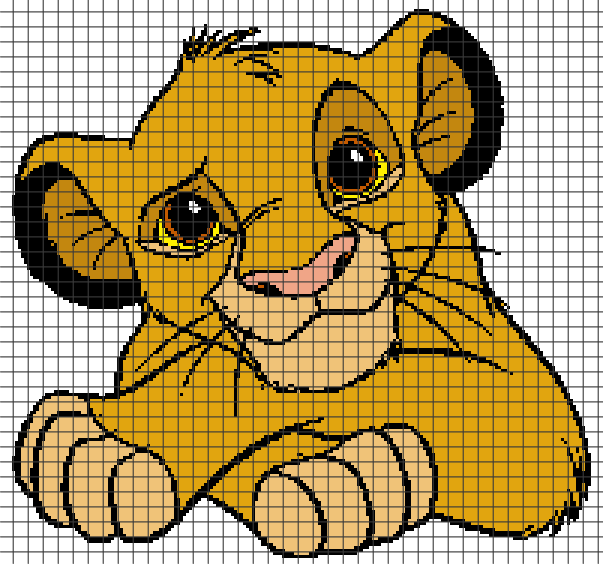 The Lion King – Little Simba Crochet Graphghan Pattern (Chart/Graph AND Row-by-Row Written Instructions) 1