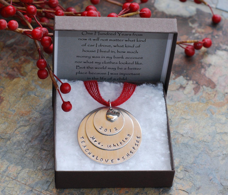 custom teacher ornament - teacher christmas gift - teach. love. inspire.