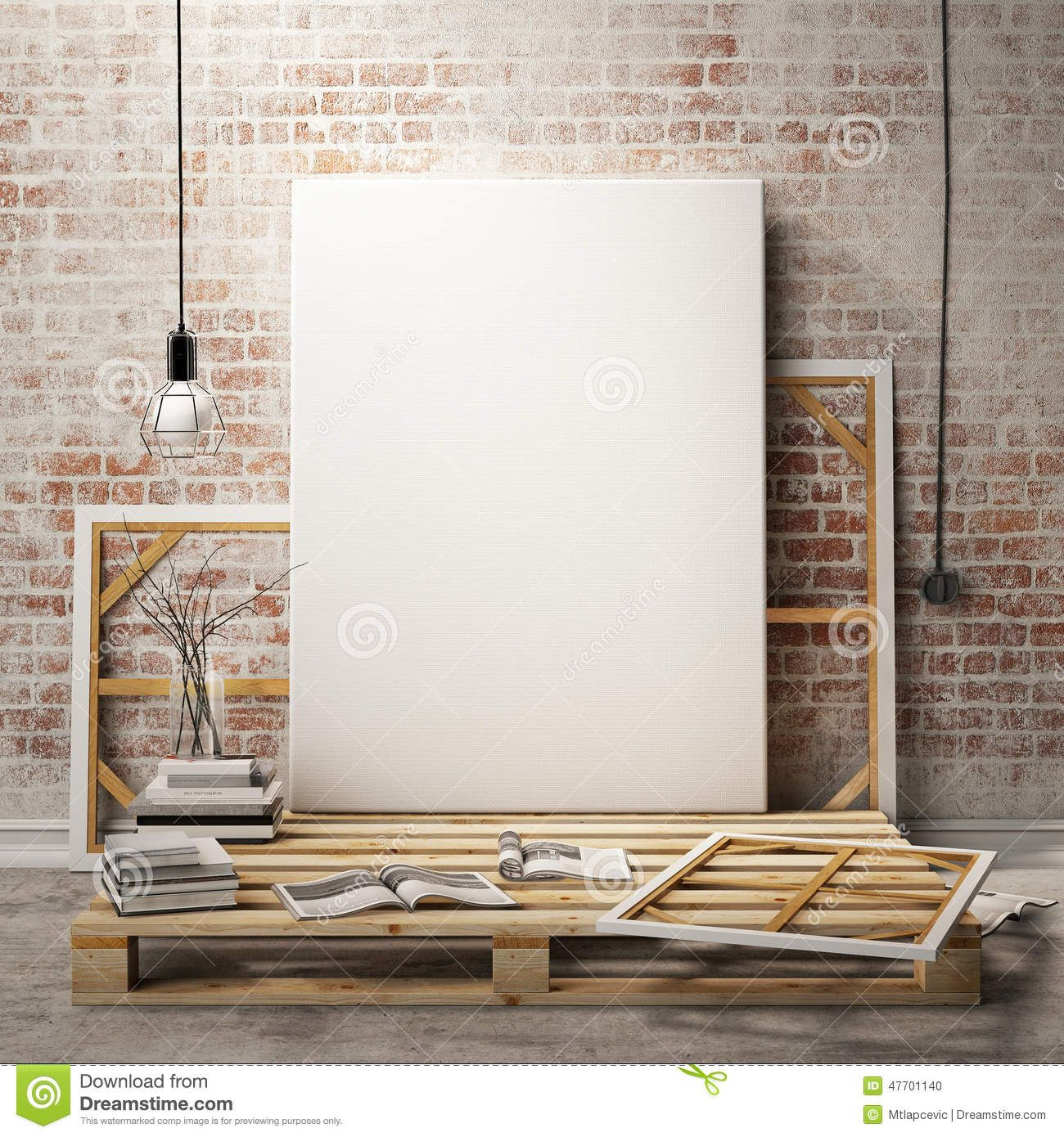 Mock Up Posters Frames Canvas Loft Interior Background Template